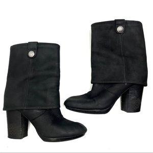 Vince Camuto Chaplin Fold Over Suede Boot Black